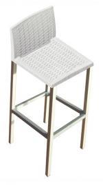 Бял ратанов бар стол
